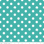 Apple of My Eye Aqua Polka Dot Fabr..