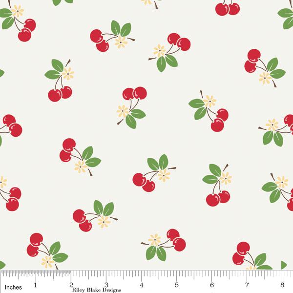 Sew Cherry Fabric Cherries on White from Riley Blake Designs Very Retro 1 Yard New