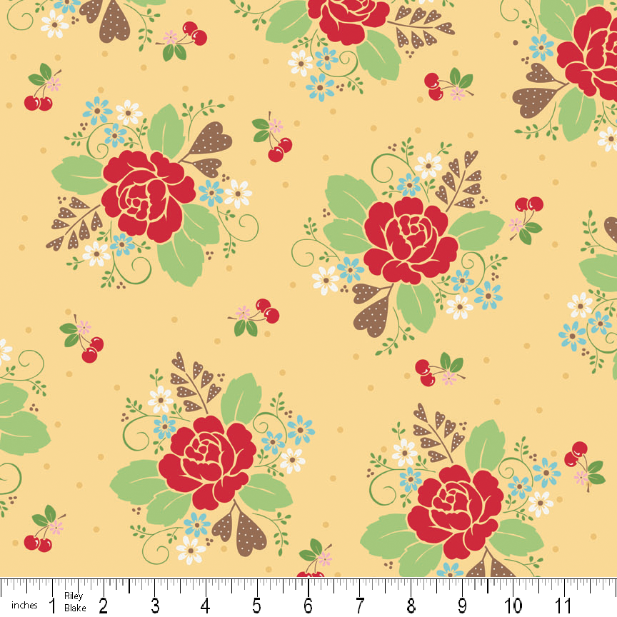 Sew Cherry Fabric Roses on Yellow with Cherries from Riley Blake Designs 1 Yard New