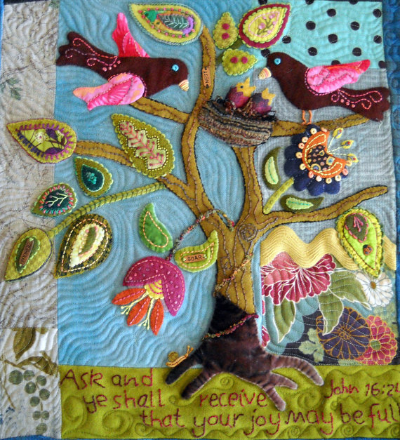 Wool Folk Art Quilt Wallhanging Pattern Titled Ask