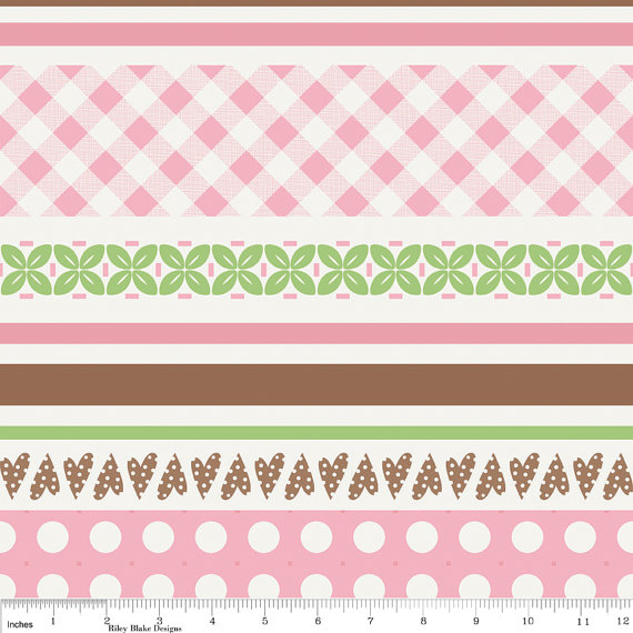 Sew Cherry Fabric Pink Stripe from Riley Blake Designs New