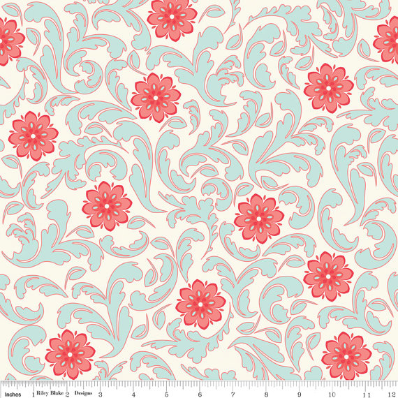 Verona French Fabric Damask Rouge from Riley Blake Designs