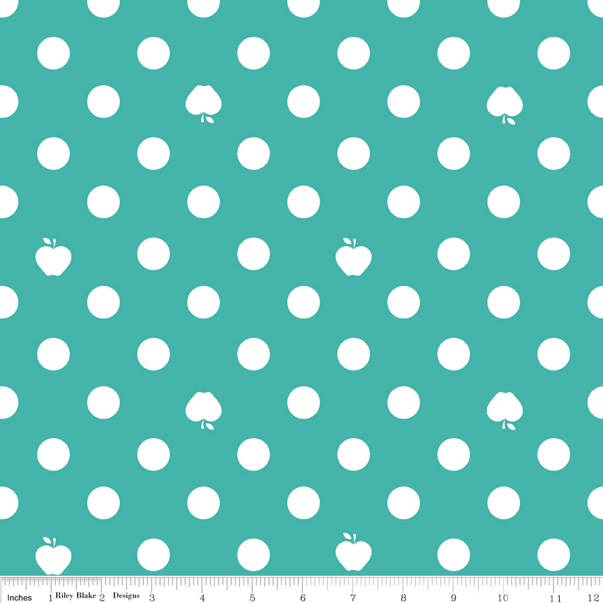 Apple of My Eye Aqua Polka Dot Fabric from Riley Blake Designs
