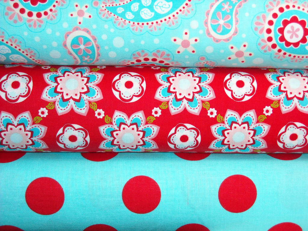 Sugar And Spice Fabric 3 Yard Combo Red And Aqua From
